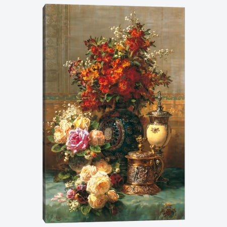 Fleurs Sur Une Table Canvas Print #JBP1} by Jean Baptiste Robie Canvas Wall Art
