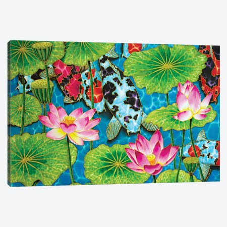 Koi & Lotus Canvas Print #JBT33} by Daniel Jean-Baptiste Canvas Art