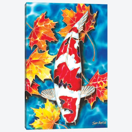 Koi & Maple Leaves Canvas Print #JBT34} by Daniel Jean-Baptiste Art Print