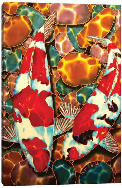 Koi In Pebble Pond Canvas Art Print
