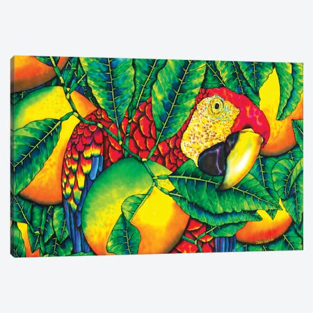 Macaw & Oranges Canvas Print #JBT40} by Daniel Jean-Baptiste Canvas Print