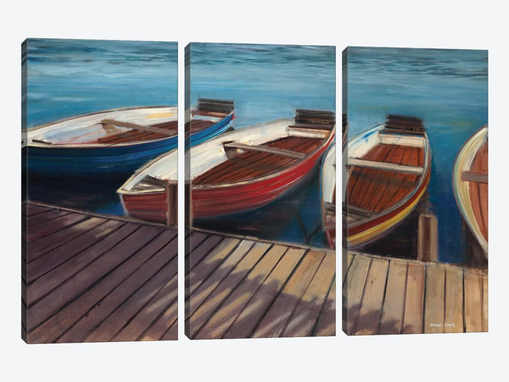 Row Boats by Joseph Cates 3-piece Canvas Art