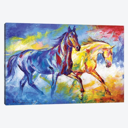 Two horses Canvas Print #JCF136} by Jos Coufreur Canvas Wall Art