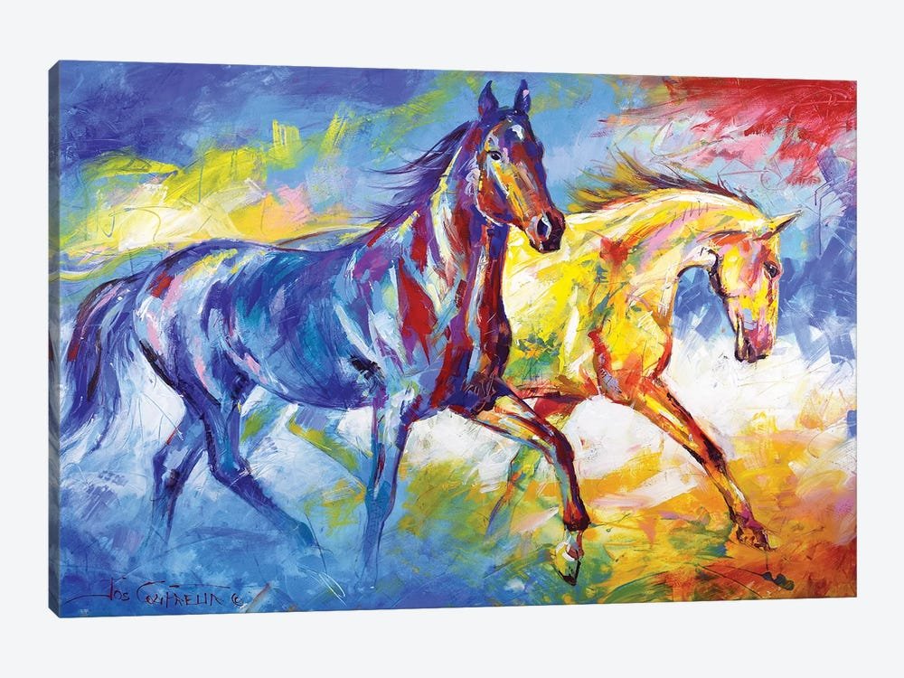 Two horses by Jos Coufreur 1-piece Canvas Art Print