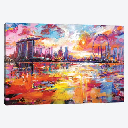 Singapore Skyline 3-Piece Canvas #JCF145} by Jos Coufreur Canvas Print
