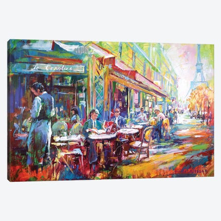 French Cafe Canvas Print #JCF29} by Jos Coufreur Canvas Wall Art