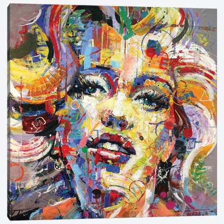 Marilyn Monroe VI Canvas Print #JCF57} by Jos Coufreur Canvas Art