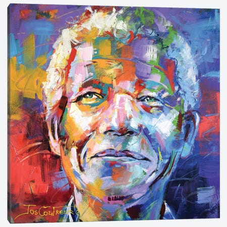 Nelson Mandela Canvas Print #JCF65} by Jos Coufreur Canvas Art Print