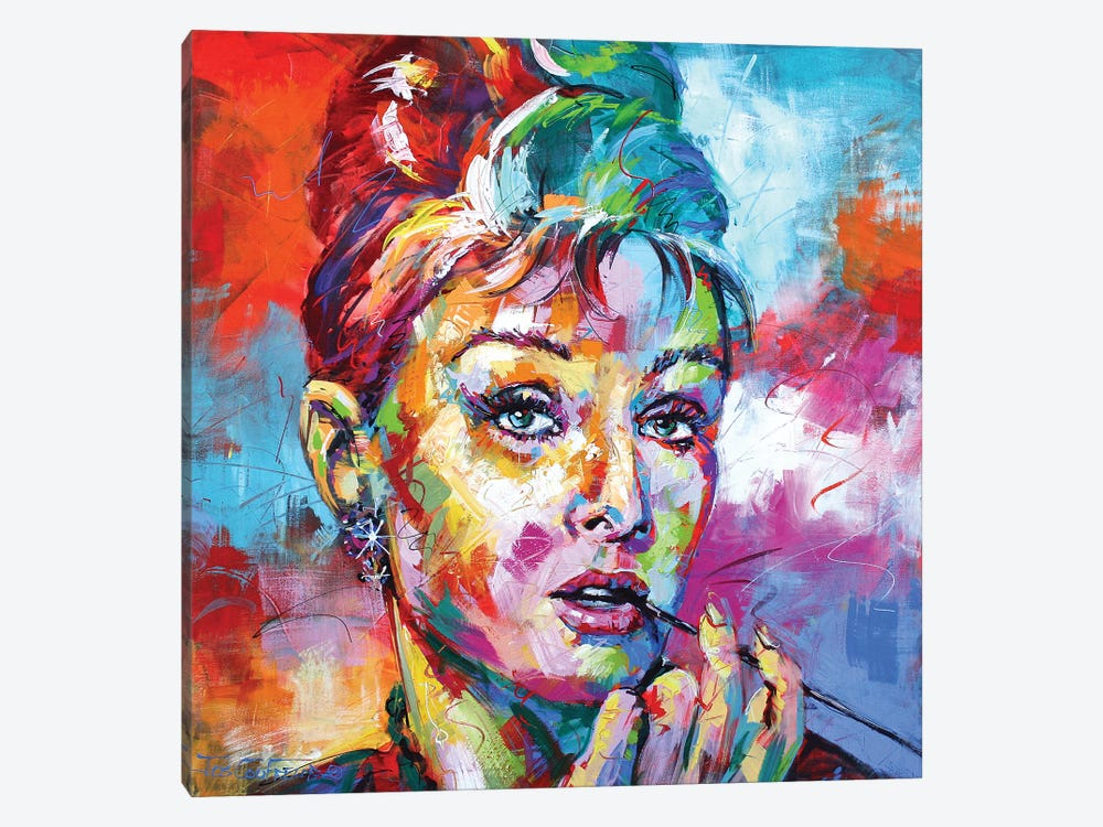Audrey Hepburn by Jos Coufreur 1-piece Canvas Artwork
