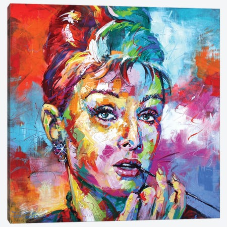 Audrey Hepburn Canvas Print #JCF89} by Jos Coufreur Canvas Wall Art