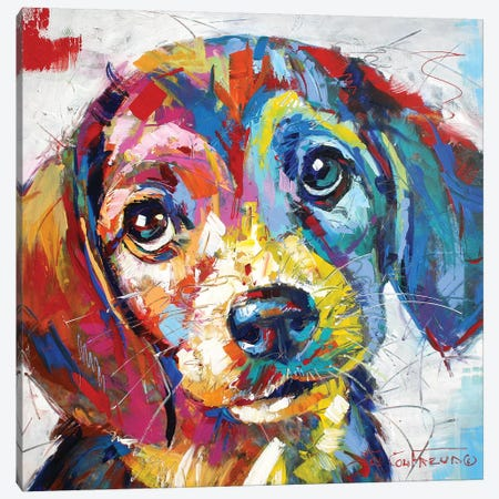 Beagle Canvas Print #JCF91} by Jos Coufreur Canvas Print
