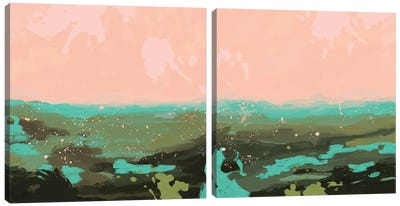 Neon Expanse Diptych Canvas Art Print