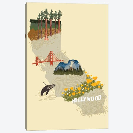 Illustrated State-California Canvas Print #JCG68} by Jacob Green Art Print