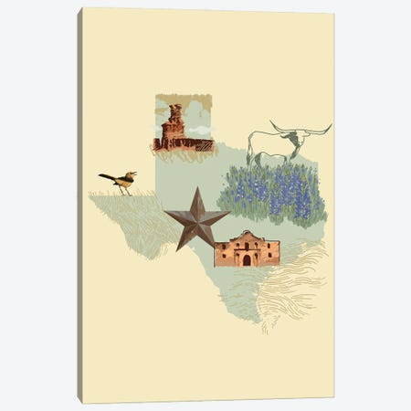 Illustrated State-Texas Canvas Print #JCG72} by Jacob Green Canvas Art