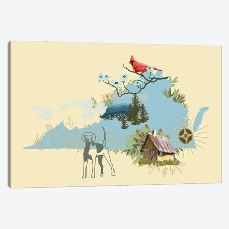 Illustrated State-Virginia Canvas Print #JCG73} by Jacob Green Canvas Artwork