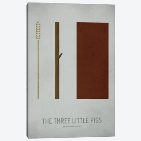 The Three Little Pigs Canvas Print #JCK10} by Christian Jackson Canvas Wall Art