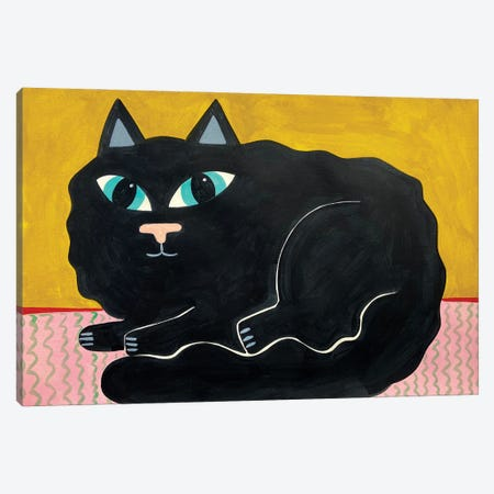 Fluffy Black Cat Canvas Print #JCN10} by Jelly Chen Canvas Print