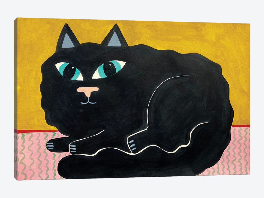 Fluffy Black Cat by Jelly Chen 1-piece Canvas Print