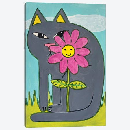 Grey Cat with Pink Flower Canvas Print #JCN26} by Jelly Chen Canvas Art Print