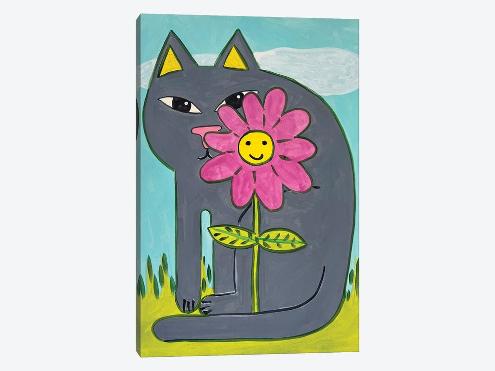Grey Cat with Pink Flower by Jelly Chen 1-piece Canvas Wall Art