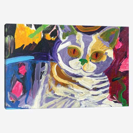 Purple Cat Canvas Print #JCN29} by Jelly Chen Canvas Artwork
