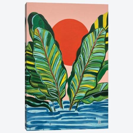 Banana Leaf Sunrise Canvas Print #JCN2} by Jelly Chen Canvas Art