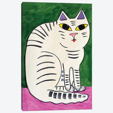 Striped Cat Canvas Print #JCN35} by Jelly Chen Canvas Artwork