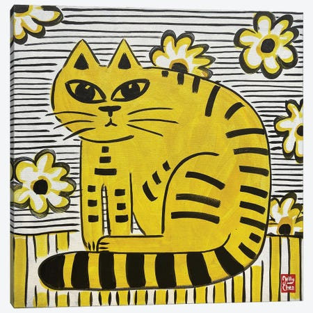 Yellow Cat Canvas Print #JCN38} by Jelly Chen Canvas Art Print