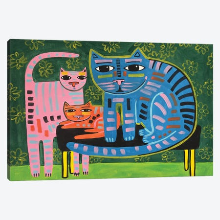 Cat Family Canvas Print #JCN6} by Jelly Chen Canvas Art Print
