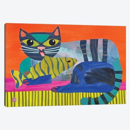 Cat Fish Canvas Print #JCN7} by Jelly Chen Art Print