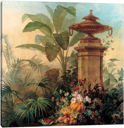 Flowers And Tropical Plants Canvas Art Print