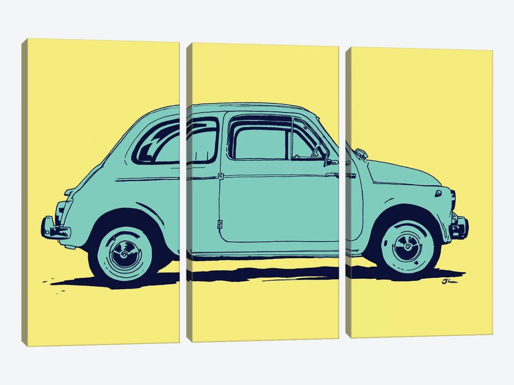 Fiat 500 by Giuseppe Cristiano 3-piece Canvas Wall Art