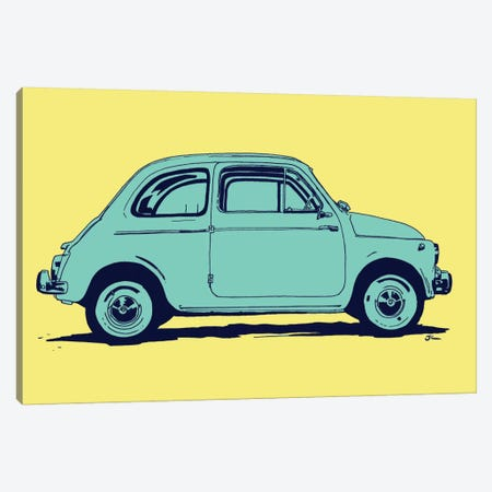 Fiat 500 3-Piece Canvas #JCR14} by Giuseppe Cristiano Canvas Wall Art