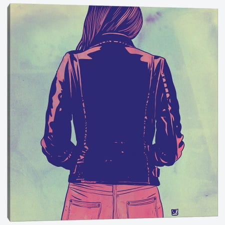 Leather Jacket 3-Piece Canvas #JCR150} by Giuseppe Cristiano Canvas Art Print