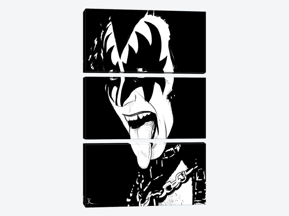 Gene Simmons by Giuseppe Cristiano 3-piece Canvas Wall Art