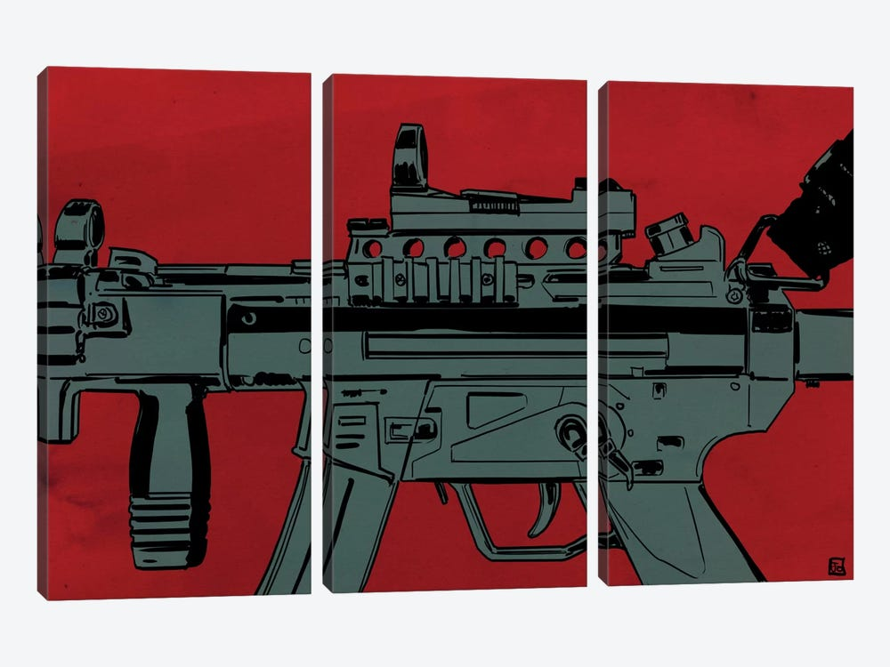 Gun Machine by Giuseppe Cristiano 3-piece Canvas Artwork