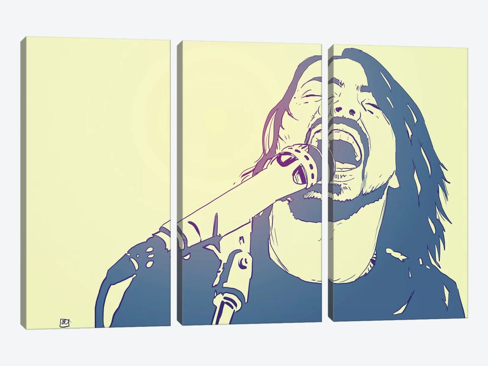 Dave Grohl by Giuseppe Cristiano 3-piece Canvas Print