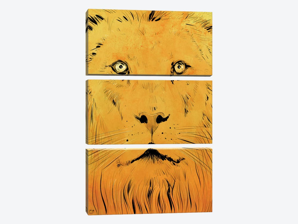 Lion by Giuseppe Cristiano 3-piece Canvas Art Print