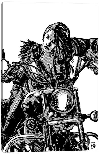 Biker Girl Canvas Art Print