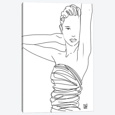 Line Art Lady Canvas Print #JCR85} by Giuseppe Cristiano Art Print