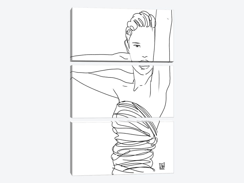 Line Art Lady by Giuseppe Cristiano 3-piece Canvas Art