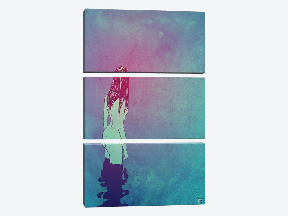Skinny Dipping by Giuseppe Cristiano 3-piece Canvas Wall Art