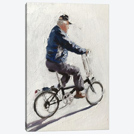 Old Man Cycling Canvas Print #JCT100} by James Coates Canvas Wall Art
