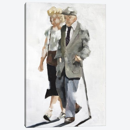 Old Couple Strolling Canvas Print #JCT101} by James Coates Canvas Wall Art
