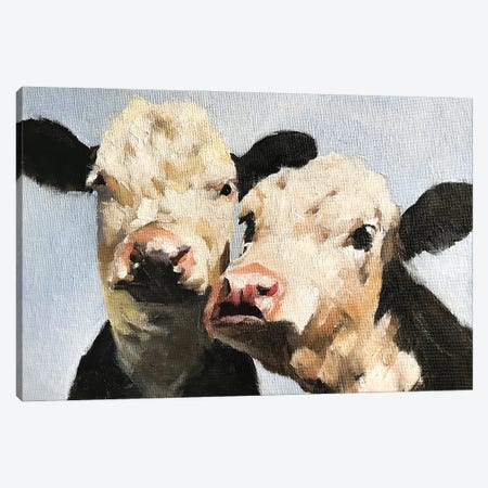 Pair Of Cows Canvas Print #JCT102} by James Coates Canvas Artwork