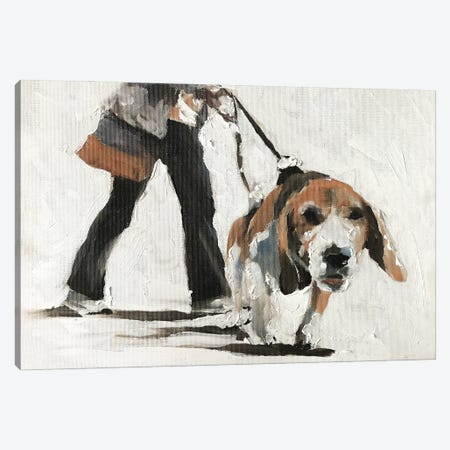 Taking My Human For A Walk Canvas Print #JCT127} by James Coates Canvas Art Print