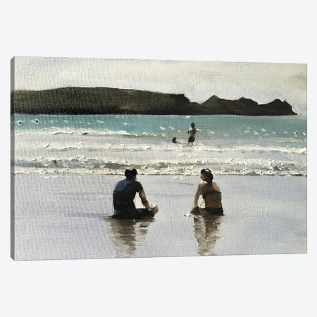 Time Out At The Beach Canvas Print #JCT131} by James Coates Canvas Print