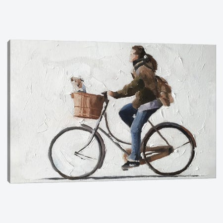 Woman And Dog Cycling Canvas Print #JCT139} by James Coates Art Print