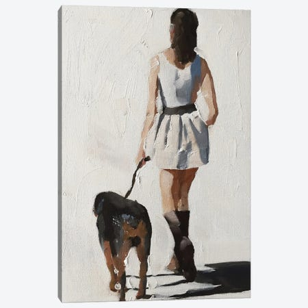 Woman And Dog Canvas Print #JCT140} by James Coates Canvas Artwork