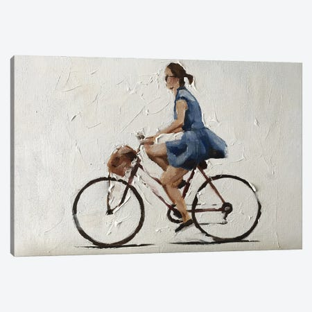 Cycling In A Blue Dress Canvas Print #JCT142} by James Coates Canvas Artwork